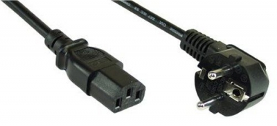 Power cable [Schuko socket angulated– IEC 13 socket straight]  5.0m black