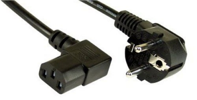 Power cable [Schuko socket angulated – IEC 13 socket right angled] 0.5m black