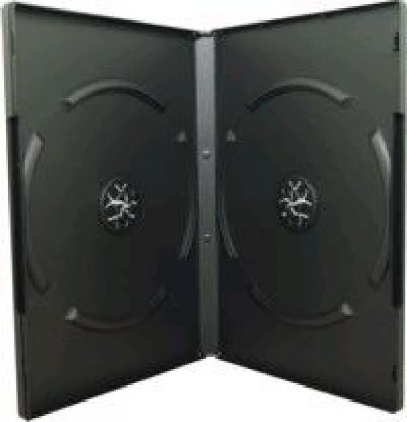 Doppel DVD-Box schwarz mit Klarsichtfolie für Einleger