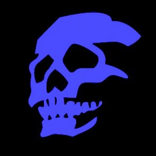 Window-Kit Aufkleber Skull [19x14cm] UV-Blue