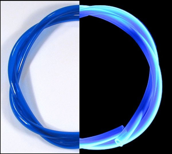 PVC-Schlauch 7,0x1,5x10,0 mm [pro 50cm] transparent UV-blau