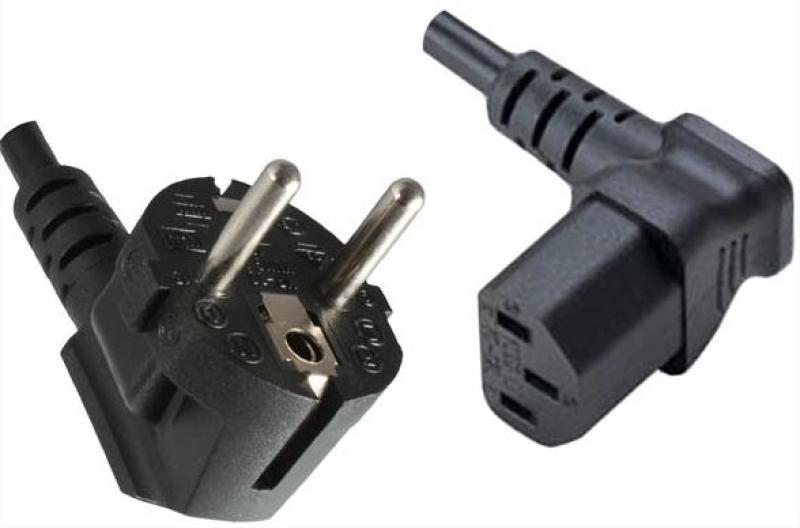 Kaltgeräte-Stromkabel 1,5m schwarz Schutzkontakt-Stecker an Kaltgeräte-Kupplung